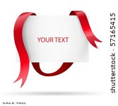 blank sale tag. red ribbons.... | Shutterstock .eps vector #57165415