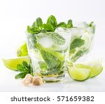 mojito cocktail with lime and... | Shutterstock . vector #571659382