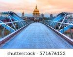 St. Pauls cathedral and Millennium Bridge, London, UK