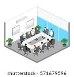 business meeting in an office... | Shutterstock .eps vector #571679596