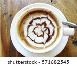 hot cup of coffee cappuccino... | Shutterstock . vector #571682545