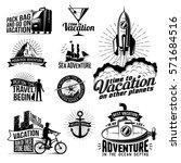 a set of monochrome retro logos ... | Shutterstock . vector #571684516