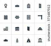 set of 16 simple construction... | Shutterstock .eps vector #571687012