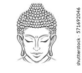 Buddha Head   Elegant Vector...