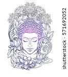 buddha head   elegant vector... | Shutterstock .eps vector #571692052