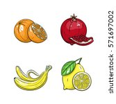 collection set of hand drawn... | Shutterstock .eps vector #571697002