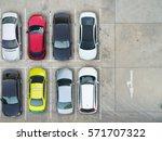 empty parking lots  aerial view. | Shutterstock . vector #571707322