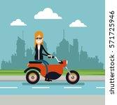 woman sunglasses driving... | Shutterstock .eps vector #571725946