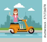 happy woman glasses riding... | Shutterstock .eps vector #571726078