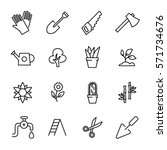 set of garden icons in modern... | Shutterstock .eps vector #571734676