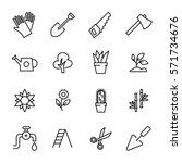 set of garden icons in modern... | Shutterstock .eps vector #571734676