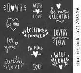 cute love signs. chalk on a... | Shutterstock .eps vector #571746526