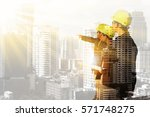 civil engineer stand on ground... | Shutterstock . vector #571748275