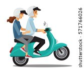 couple travel by scooter... | Shutterstock .eps vector #571766026