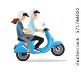 couple travel by scooter... | Shutterstock .eps vector #571766032