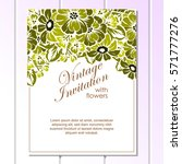 invitation with floral... | Shutterstock .eps vector #571777276