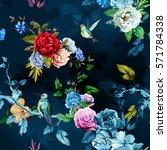 humming bird wild roses  peony  ... | Shutterstock .eps vector #571784338