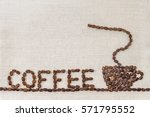 burlap sackcloth canvas and... | Shutterstock . vector #571795552