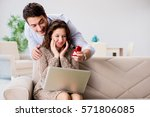 romantic concept with man... | Shutterstock . vector #571806085