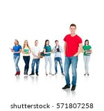 large group of teenage students ... | Shutterstock . vector #571807258