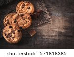 chocolate chip cookies on dark... | Shutterstock . vector #571818385