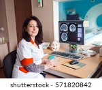 mri machine and screens with... | Shutterstock . vector #571820842