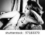 elegant woman portrait in arm...   Shutterstock . vector #57183370