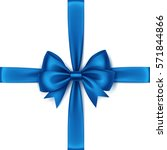 vector shiny blue satin bow and ... | Shutterstock .eps vector #571844866