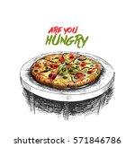 pizza  hand drawn sketch vector ... | Shutterstock .eps vector #571846786