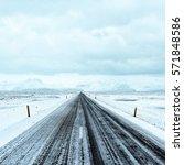 road trip on winter roads in... | Shutterstock . vector #571848586