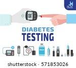 diabetes testing.  doctor holds ... | Shutterstock .eps vector #571853026