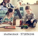 family spend time happiness... | Shutterstock . vector #571856146