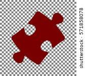 puzzle piece sign. maroon icon...