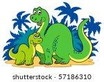 cartoon dinosaur family  ... | Shutterstock .eps vector #57186310