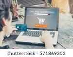 online shopping concept.man...   Shutterstock . vector #571869352
