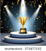 realistic golden trophy on... | Shutterstock .eps vector #571877152