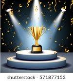 realistic golden trophy on... | Shutterstock .eps vector #571877152