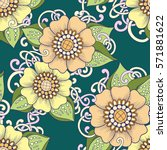seamless pattern with stylized... | Shutterstock .eps vector #571881622