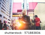 mindful attractive blonde with... | Shutterstock . vector #571883836