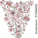 embroidery lace floral neckline ... | Shutterstock .eps vector #571886065