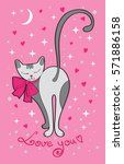 valentine's day card cute cat... | Shutterstock . vector #571886158