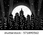 moonlight over night city... | Shutterstock .eps vector #571890562