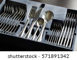 blue flatware box isolated on