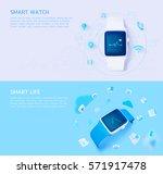 set of 3d illustration concept... | Shutterstock .eps vector #571917478