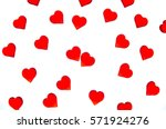 bright red hearts on a striped... | Shutterstock . vector #571924276