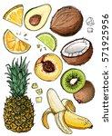 set of fruit. fresh food.... | Shutterstock .eps vector #571925956