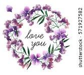 big watercolor botanical wreath....   Shutterstock . vector #571927582