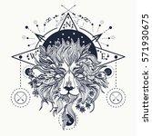 mystic lion tattoo art. alchemy ... | Shutterstock .eps vector #571930675