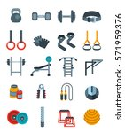 weightlifting flat  icons set.... | Shutterstock . vector #571959376