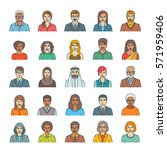 people faces avatars linear ... | Shutterstock . vector #571959406